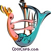 Vector Clip Art image  of a mermaid with harp