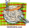 Vector Clipart image  of a Man in gondola in plate of