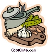 Soup pot with garlic and onions Vector Clipart picture