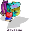 Vector Clipart picture  of a school knapsack with apple and
