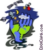 Vector Clip Art picture  of a world and surrounding