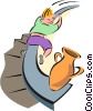 Vector Clip Art image  of a banister slide to disaster