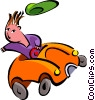 Vector Clip Art image  of a car driver losing hat