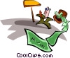 Vector Clip Art graphic  of a briefcase dumping money with