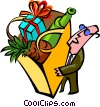man with groceries Vector Clipart picture