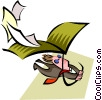 man flying an envelope kite Vector Clipart graphic