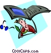 man flying a laptop hang-glider Vector Clipart picture