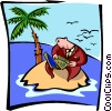 Vector Clipart graphic  of a man on island with laptop