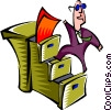 climbing filing cabinet staircase Vector Clipart picture
