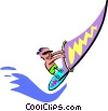 Vector Clip Art image  of a wind surfer