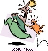 Vector Clipart illustration  of a cat chasing person