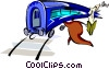 Vector Clip Art image  of a catching the train