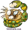 Vector Clip Art graphic  of a snake stealing eggs