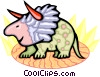 Vector Clip Art image  of a Triceratops