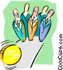 Vector Clipart picture  of a business bowling pins and ball
