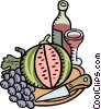 Wine with melon and grapes Vector Clipart illustration