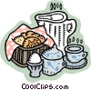 Vector Clip Art image  of a cookies and tea