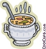 Vector Clip Art image  of a pot of soup