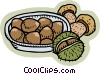 Vector Clipart picture  of a Nuts and mushrooms