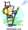 worker on ladder Vector Clip Art image