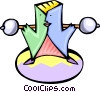 cartoon weight lifter Vector Clipart image