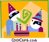 Vector Clip Art image  of a birthday party