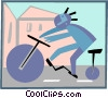 Vector Clipart graphic  of a cycling