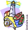 Vector Clip Art graphic  of a lighthouse scene