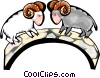 Vector Clip Art image  of a mountain goats rams
