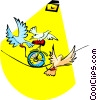 doves performing on a tightrope Vector Clipart graphic