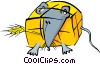 Vector Clipart graphic  of a mouse tied up in a hay bale