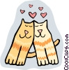 loving cats Vector Clipart illustration