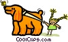 pet dog with child and butterfly Vector Clip Art picture