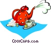 Vector Clip Art graphic  of a teapot with teacup, saucer and sugar