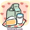 Vector Clipart illustration  of a milk and a slice of pie