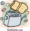 Vector Clipart graphic  of a toast flying out of a toaster