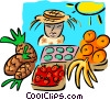 Vector Clip Art image  of a food market