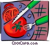 Vector Clip Art image  of a tomato being sliced