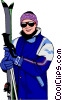 Vector Clipart picture  of a skier