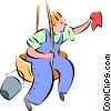 Vector Clipart graphic  of a window cleaner