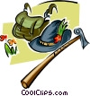 Vector Clipart picture  of a hiking