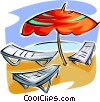 Vector Clip Art graphic  of a Beach chairs and umbrella