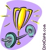 Vector Clipart image  of a weight lifting trophy