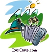 Vector Clipart graphic  of a travel in Swiss Alps