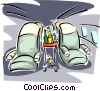 airplane travel with seats and food cart Vector Clip Art picture