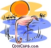 Vector Clip Art graphic  of a flamingo