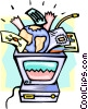 Vector Clip Art graphic  of a business computers