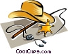 cowboy hat with sheriff badge Vector Clipart illustration