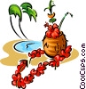 tropical drink with palm trees Vector Clip Art picture