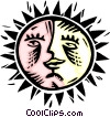 sun and moon combo Vector Clip Art image